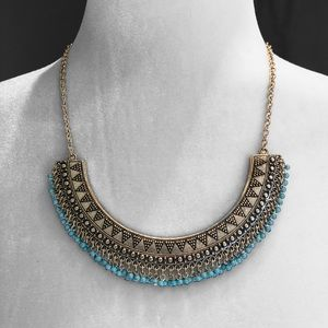 Statement Necklace Half Circle Silver Turquoise